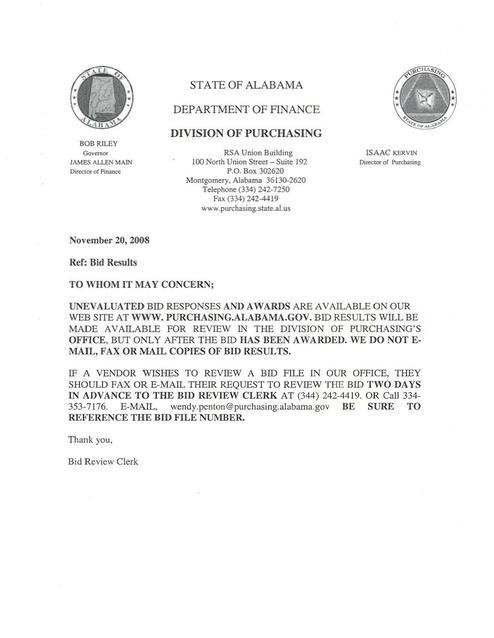 AL Memo re Contract Bid Responses and Awards on Wesbite 2008