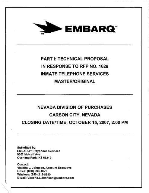 NV Contract -- Technical Proposal 2007 | Prison Phone Justice