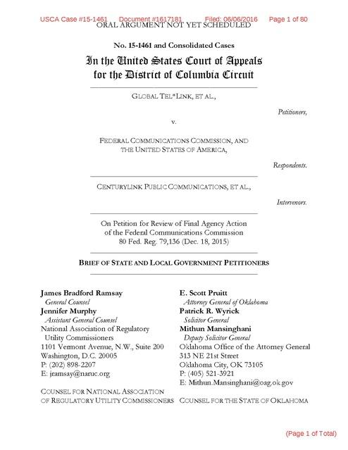 GTL v  FCC-ICS, DC, States Brief, telephone rates, 2016