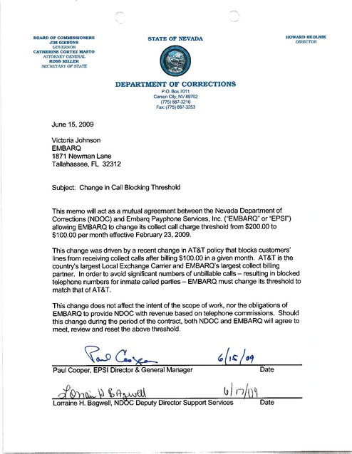 NV Contract with Embarq 2009 Memo | Prison Phone Justice