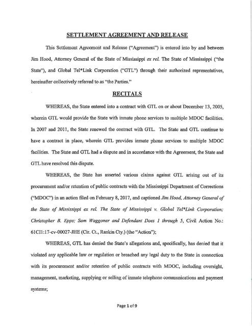 Hood V Global Tel Link Ms Settlement Bribery And Conspiracy