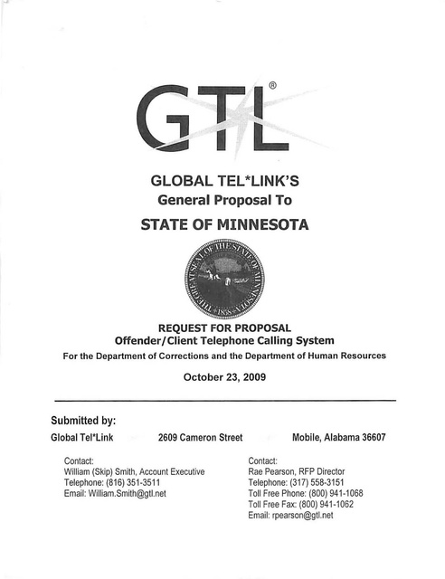 Mn Gtl Contract Proposal Part 1 Prison Phone Justice