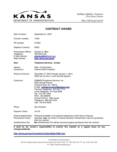 KS Contract With Embarq 2007 Prison Phone Justice