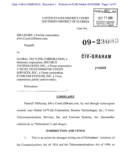 Millicorp V Global Tel Link Fl Complaint Inmate Phone