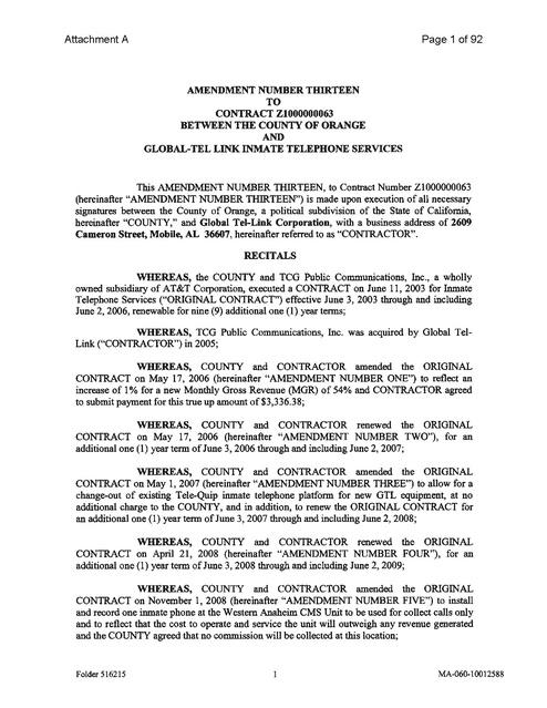 CA Orange Co Contract With Amendment 13 Extending Through 3-2-15