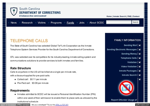 SC DOC ICS Rates effective March 2016 | Prison Phone Justice