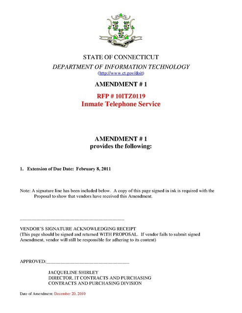 Ct Contract Rfp Amendments 2010 2011 Prison Phone Justice