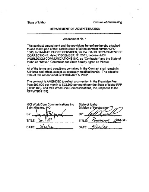 ID Contract with MCI Worldcom -- Amendment 1 -- 2002 | Prison ...