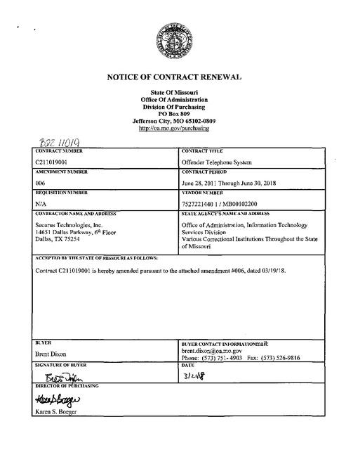 Missouri DOC - Securus Contract Renewal 2011-2018 | Prison