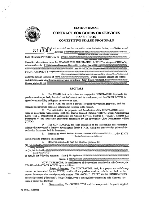 Hawaii DPS GTL Contract 2017 Prison Phone Justice