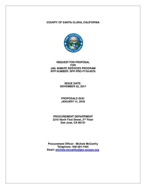 CA Santa Clara County RFP 2017 | Prison Phone Justice