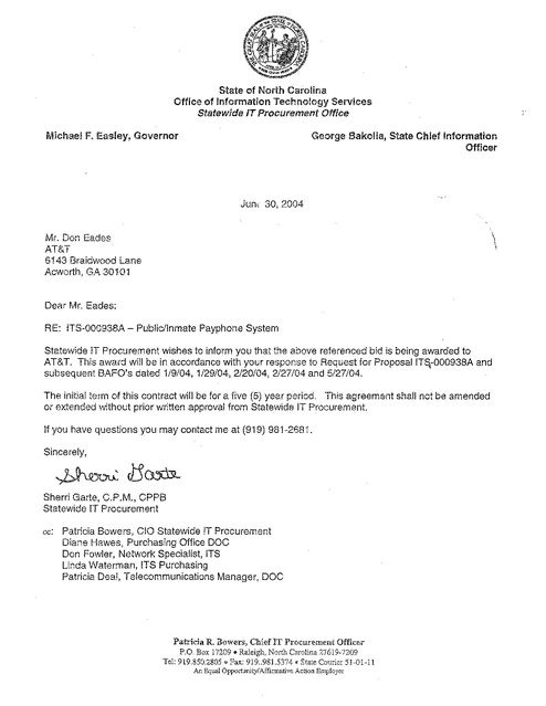 NC Contract Award to AT&T 2004 | Prison Phone Justice