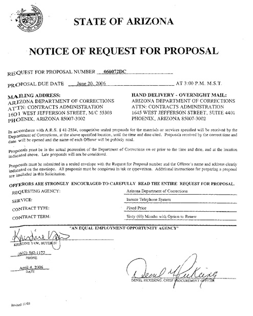 AZ Contract 2007-2014 RFP with Amendments | Prison Phone Justice
