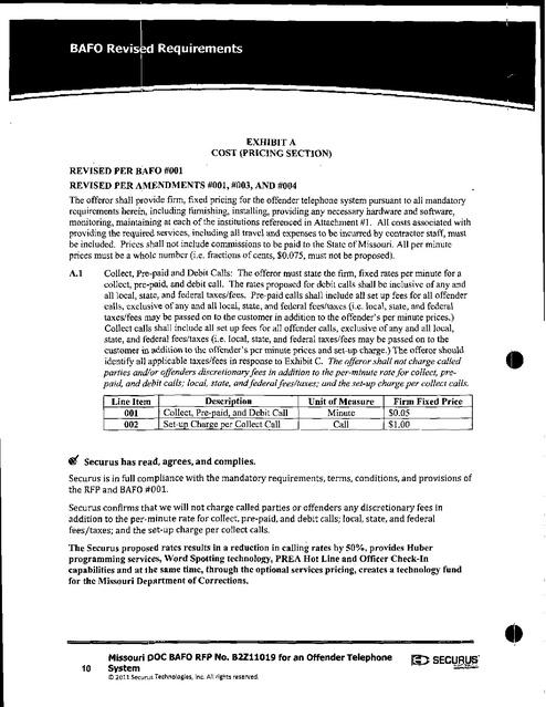 Missouri DOC - Securus Rates 2017-2018 | Prison Phone Justice