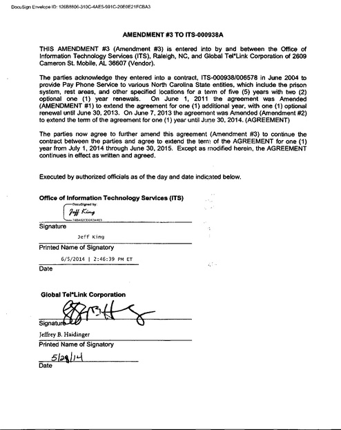 Nc Contract With Gtl Amendment 3 Extension Through 6 30 15 Prison