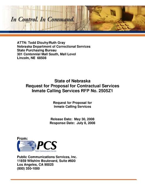 NE Phone Contract PCS RFP 2008 | Prison Phone Justice