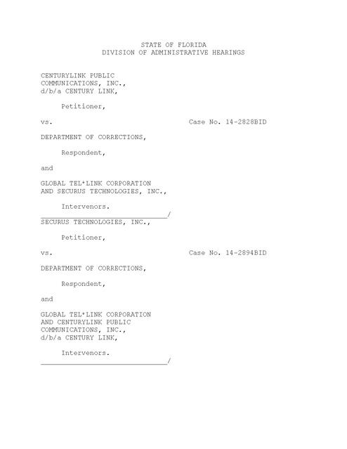 Century Link v FL DOC- Admin Order | Prison Phone Justice