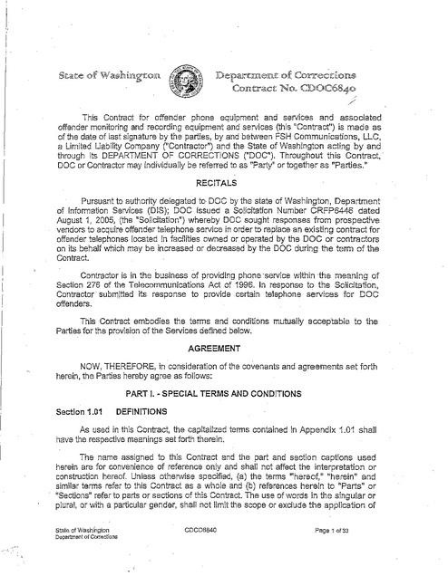 Washington DOC Inmate Phone Contract from 2006 thru 12-31