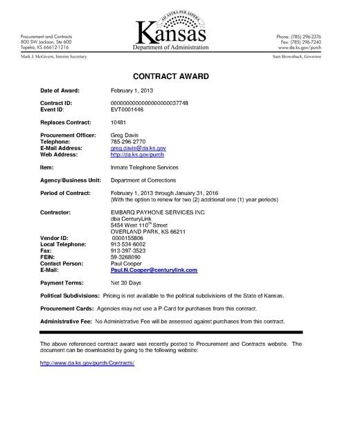 2013 Kansas Doc Inmate Phone Contract Award Prison Phone