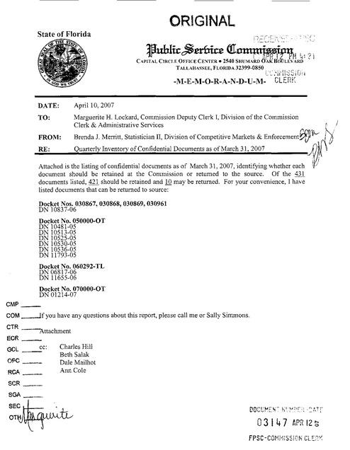 Florida Utilities Commission v Evercom Fl Plf Inventory of
