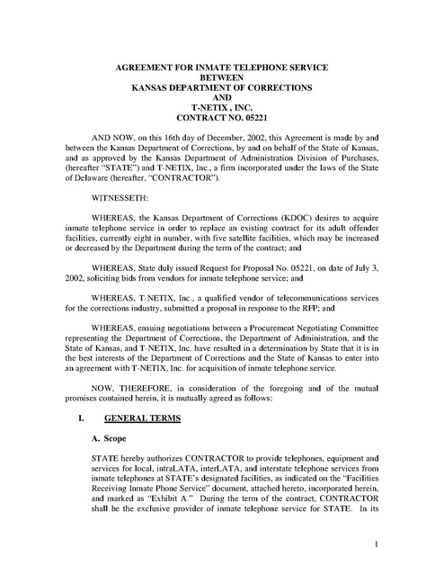 Ks Contract With T Netix 2002 Prison Phone Justice