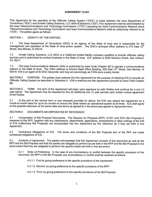 Ia Contract With Ics 2013 2014 Prison Phone Justice