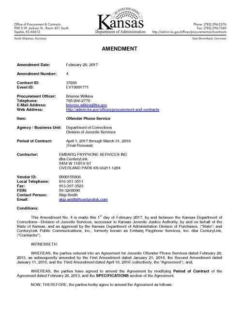 KS CenturyLink-Embarq Contract Amendment 4 thru March 2018