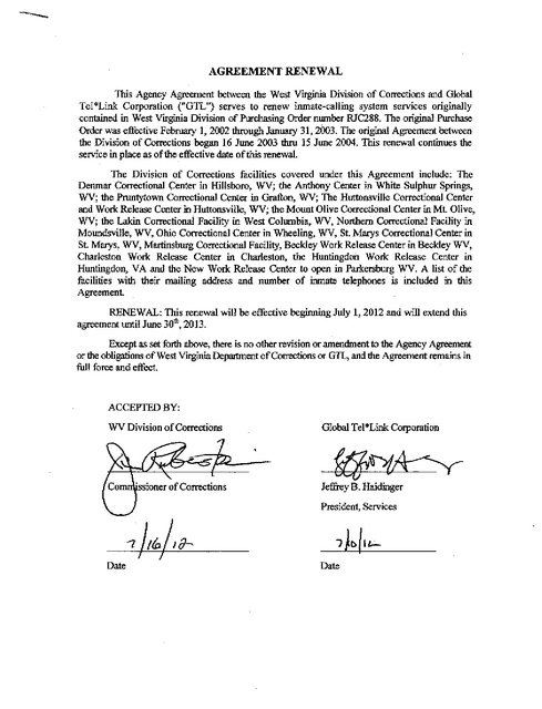 WV Contract with GTL Renewal Through June 2013 | Prison