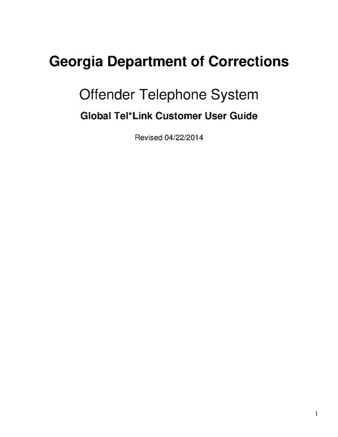 Georgia Department of Corrections Offender Telephone System